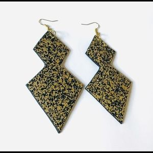 Glittery Black and Gold Oversize Earrings